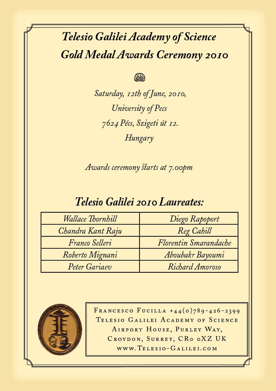 Telesio galilei academy award 2010 telesio galilei invitation letter stopboris Gallery